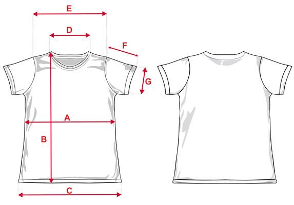 Esquema medidas camiseta Aitana
