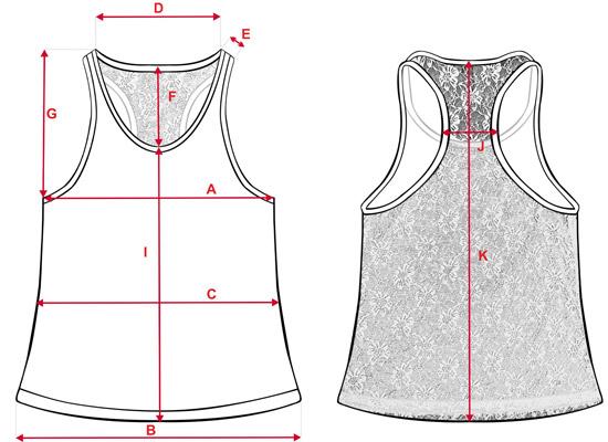 Esquema medidas camisetas con tirantes y encaje