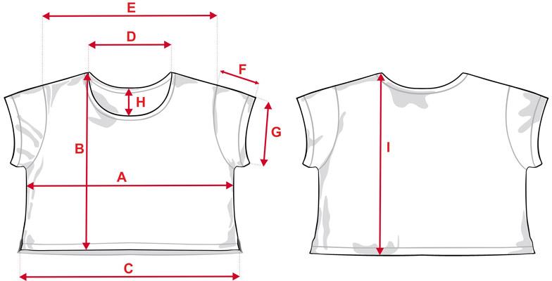 Esquema medidas camiseta ancha de chica de estampación completa