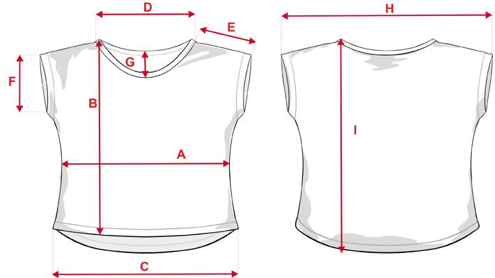 Esquema medidas camiseta ancha infantil de estampación completa
