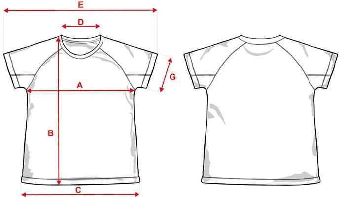 Esquema medidas camiseta unisex bicolor